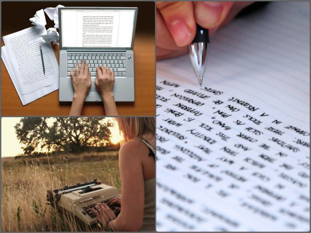 Помощники писателя: ручка с бумагой, печатная машинка, ноутбук